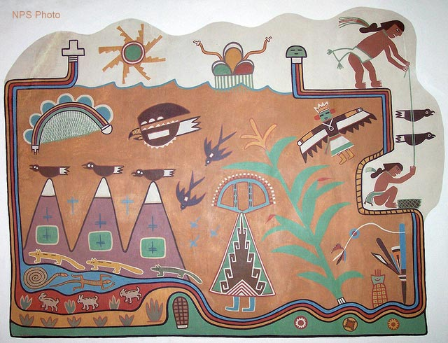 Hopi Artist Fred Kabotie's Painted Desert Inn Mural | NPS Photo