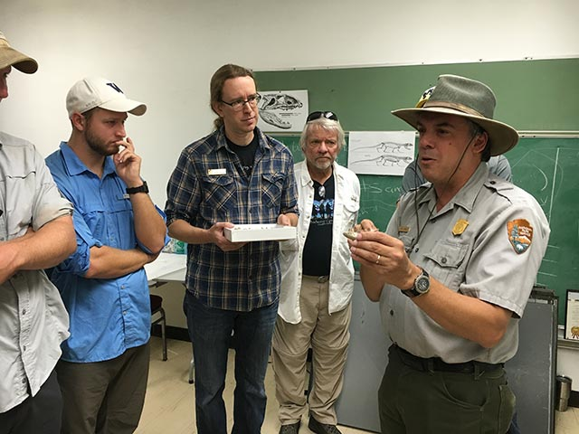 Bill Parker, NPS Paleontologist discussing fossils found in park to class | Photo by Christa Sadler