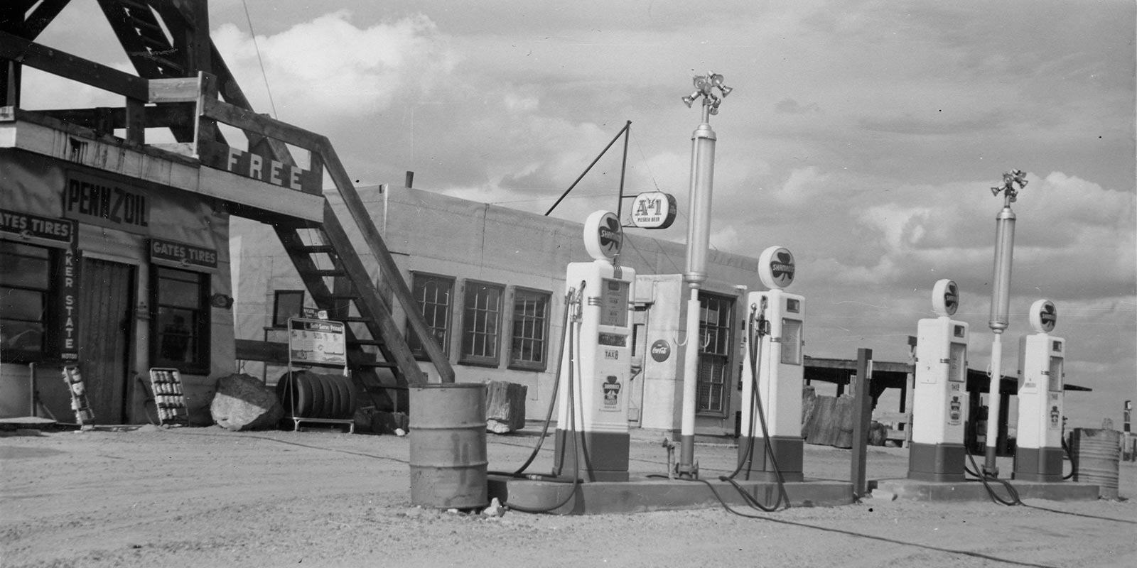 Gas Pumps at Painted Desert Tower, 1957 | NPS Photo